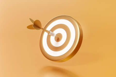 Golden arrow aim to dartboard target or goal of success on business background with complete achievement concept. 3D rendering.