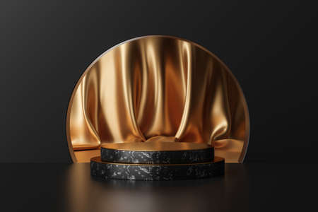 Luxury gold product backgrounds stage or blank podium pedestal on elegance presentation display backdrops. 3D rendering.