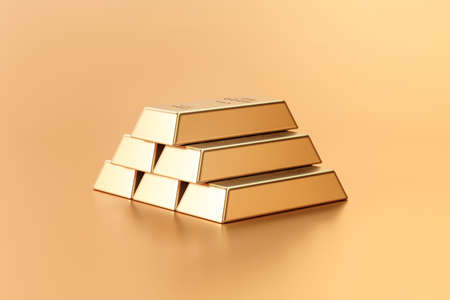 Pure gold bars and finance currency concept on golden treasure background with business investment. 3D rendering. 免版税图像