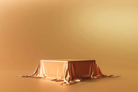 Gold product background stand or podium pedestal on luxury advertising display with satin backdrops. 3D rendering.