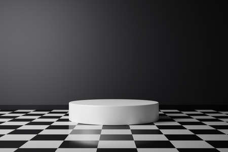 Abstract product background and checkered pattern flooring on dark room pedestal or white podium with backdrops display. 3D rendering.