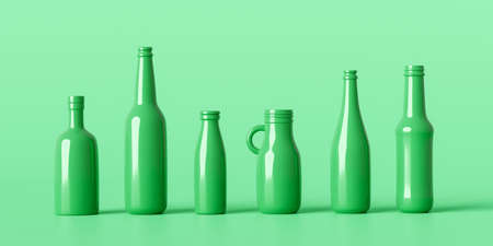 Recycle eco bottles glass or drink beverage container on natural background with recycling package. 3D rendering.