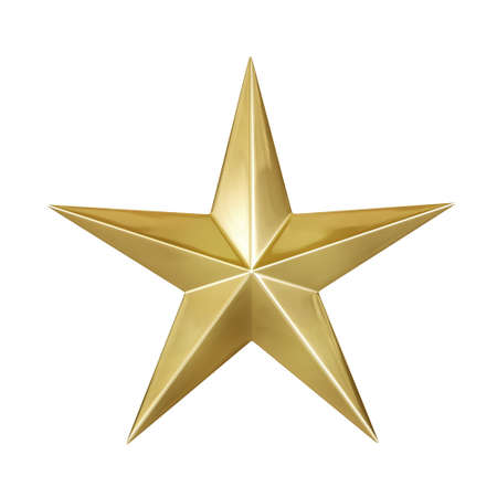 Gold metallic star or christmas decoration object isolated on white background with shiny stars medal. 3D rendering.