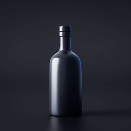 Alcohol bottle package or drink wine glass beverage on dark background with blank product container. 3D rendering.