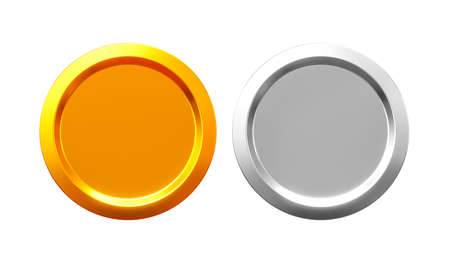 Gold and silver coins cash or money currency on golden background with shiny blank coin. 3D rendering.