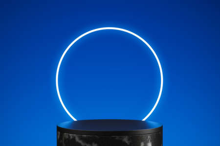 Neon blue product stage background or podium pedestal with glowing light blank display platform. 3D rendering.