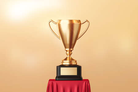 Gold trophy cup of first place and success award for winner champion on victory competition background with achievement goal. 3D rendering. 免版税图像