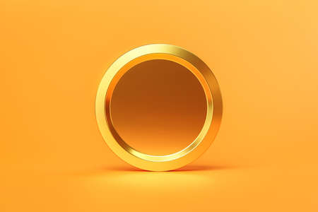Gold coins cash or money currency on golden background with shiny blank coin. 3D rendering.