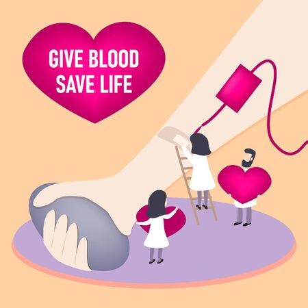 Blood donation vector illustration. Flat mini persons concept for emergency donor aid, transfusion charity and patient support. Pharmacy equipment and collection for urgent hospital surgery situation