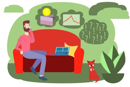 Vector illustration of home work freelance. Economic crisis due to interruption of work due to coronavirus. Losing money decreases the value of stocks and bonds.