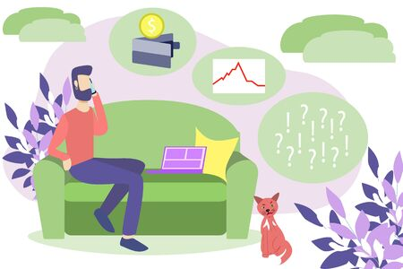 Vector illustration of home work freelance. Economic crisis due to interruption of work due to coronavirus. Losing money decreases the value of stocks and bonds Ilustrace