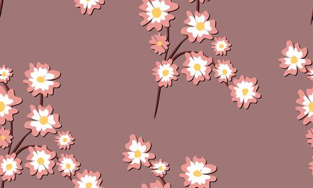 Seamless pattern blossoming sakura branch vector graphic design
