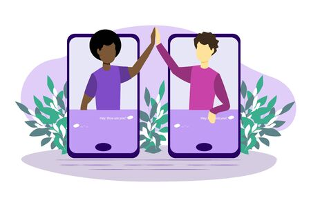 Call vector illustration. Flat cellphone communication persons concept. Modern technology for voice message, and conversation service. Two best friends of different nationalities communicate by mobile phone.