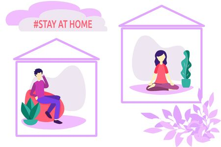 Stay home vector illustration. Symbolic man and woman each in their own home. Corona virus Covid-19 transmission risk prevention by not going outside. Health protection from dangerous microbe environment concept.