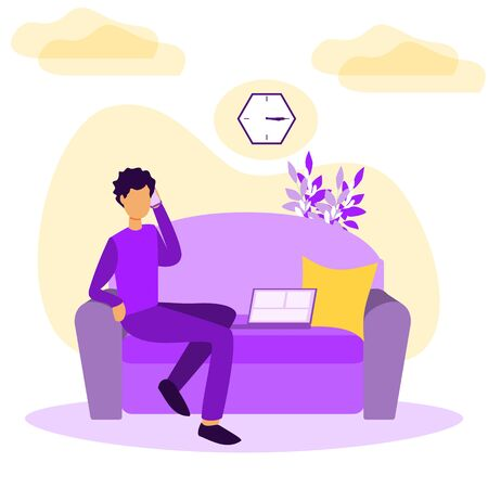 Work from home vector illustration. Stylized and abstract freelancer work with computer in cozy room. Flat example with job at empleyee own house or apartment without office workplace. Hipster feeling Ilustracja