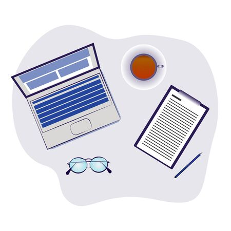 Abstract workplace with computer cup of coffee tablet paper glasses and pen vector graphic illustration