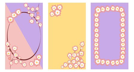 Set of floral frames in pastel colors vector graphic illustration