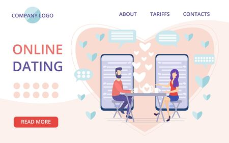 Online dating landing page vector illustration. Flat persons concept couple relationship. Mobile application distance communication and introduction with romantic or sexual partners. Web message chat