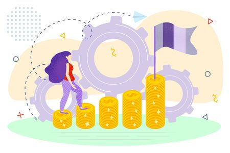 Business woman climbing on money coins ladder to the cherished goal, vector flat illustration, business promotion, take-off on the career ladder, data analysis and investment overview Ilustracja