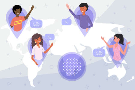 Friendship in the distance Friends from different countries and cities are happy to greet each, concept vector illustration. African American Russian Mexican and Australian greet each other world map