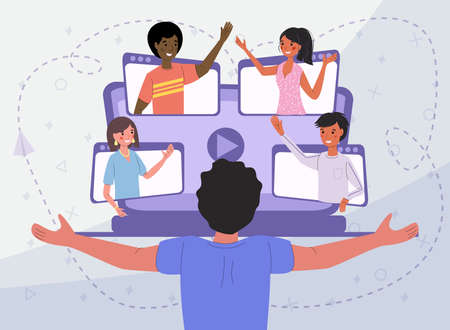 Online communication via video conference with people from different countries, vector illustration concept. A man happily greets his messenger friends.