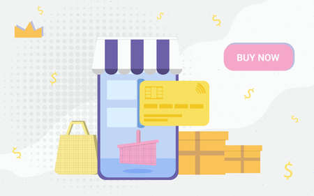 Online shopping from a mobile phone credit card pay internet payment buy now vector illustration concept