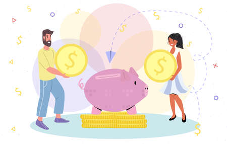 Home finances man and woman couple working on investment budget vector illustration money saving concept capital accumulation