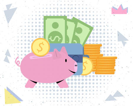 Piggy bank on the background of a wallet of dollars and coins vector illustration finance investment savings concept
