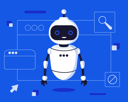Chat bot robot say hi vector flat cartoon character illustration on blue background speak bubble voice support service chat bot virtual online help customer support Ilustración de vector
