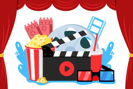 Online cinema art movie watching with popcorn drink film-strip cinematograph and 3d glasses vector illustration concept