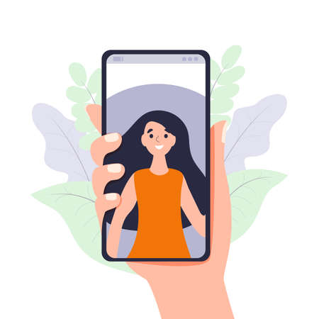 Video call via smartphone Hand holds mobile phone with incoming video conference call. Digital technology and communication vector illustration concept