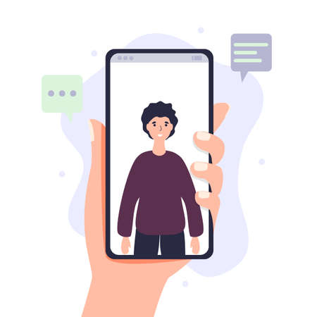 Video call via smartphone Hand holds mobile phone with incoming video conference call. Digital technology and communication vector illustration concept Vector Illustratie
