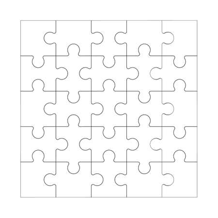 Square maze grid template Jigsaw puzzle 25 pieces thinking game and 5x5 jigsaws detail frame design Black and white stock vector illustration
