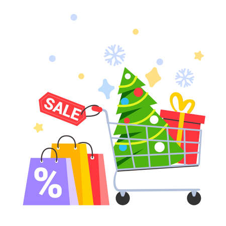 Buying a Christmas tree in a shopping cart for the New Year Supermarket basket with Christmas tree on a white background vector illustration