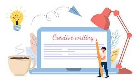 Content creative writing Copywriting and content marketing concept Flat tiny literature text author persons Story vector illustration Blogging Blogger Freelance Content management