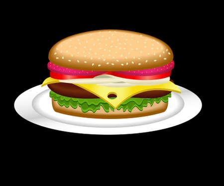 cheeseburger: Hamburger on a white plate, the vector