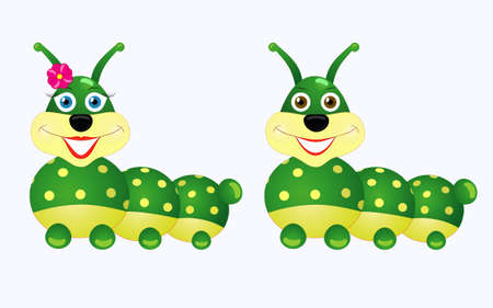 Caterpillars boy and  girl smiling, cartoon