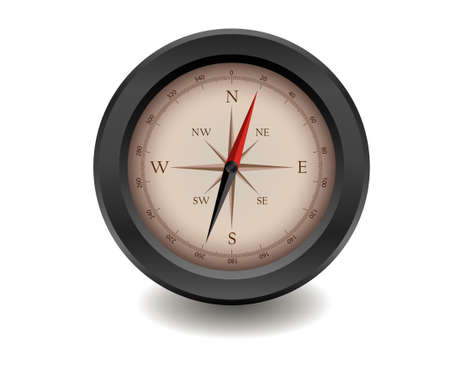 median: Black realistic compass on white background
