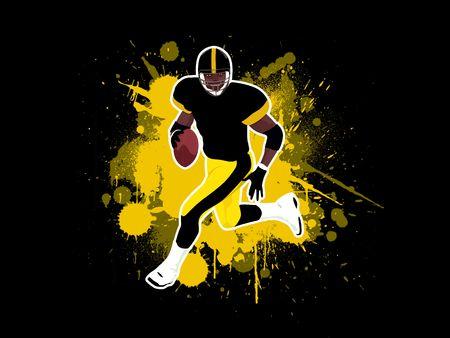 football silhouette: Uomo in esecuzione di Football americano  Archivio Fotografico