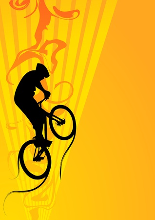 cyclist silhouette: Bike jumping his background (magazine, web)