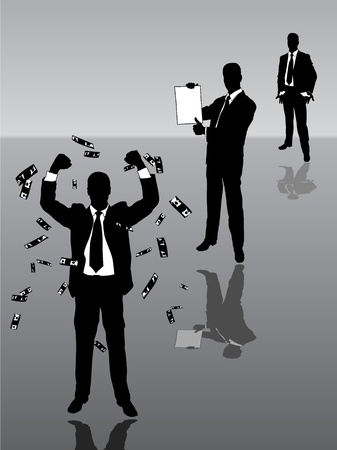 Three businessmen: needy, student, rich and successful  Stock Vector - 8911857