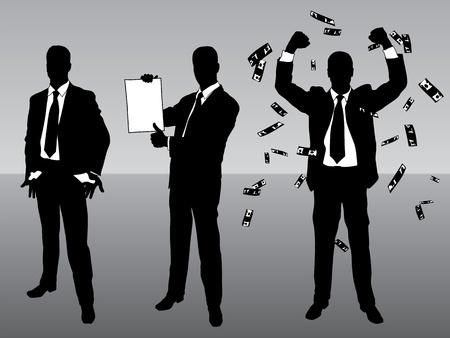 needy: Three businessmen: needy, student, rich and successful