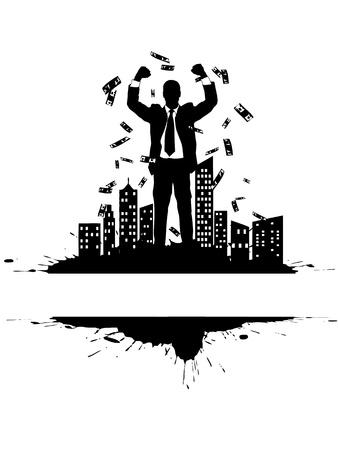 victorious: Victorious businessman on the citys edge (money rain)