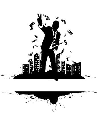 Victorious businessman on the citys edge (money rain)  Vector