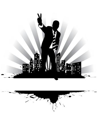Victorious businessman on the citys edge Vector
