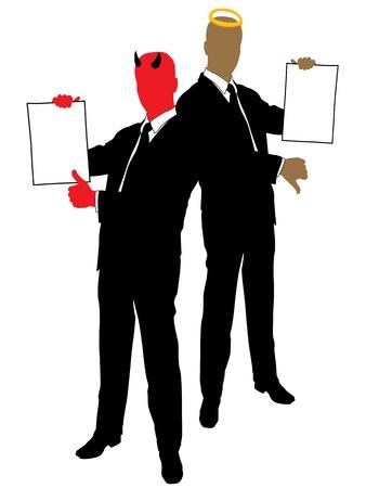 mann bad: Teufel und Angel in den H�nden der Vertrag bieten  Illustration