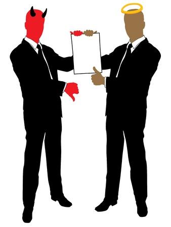 Diablo y angel en manos de contrato ofrecen  Ilustración de vector