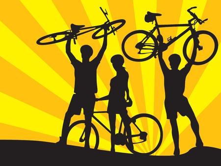 biciclette e ragazzi e ragazza (, sfondi sfondo...) Archivio Fotografico - 8980180