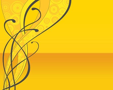 Yellow retro floral background (flyer, wallpaper, web...) photo