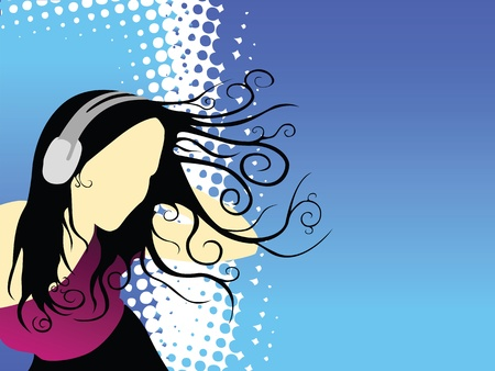 wallpaper: Disco girl & music (background, wallpaper, flyer, web...) Stock Photo